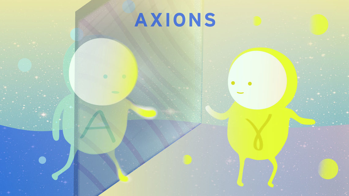 Illustration of axion on the other side of a glass wall