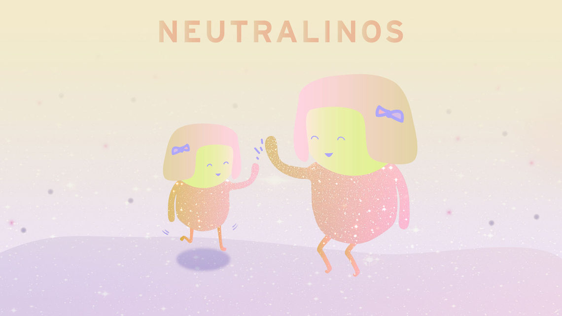 Illustration of neutralinos particles high-fiving