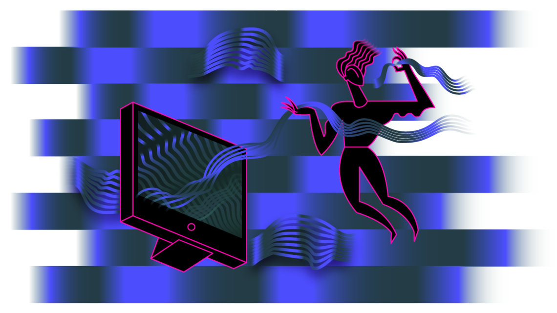 Background of black and blue bands that look like there is reverberation happening,computer screen and woman floating with waves