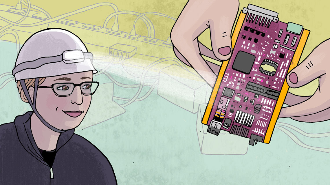 Illustration of Grace Cummings wearing a hard hat with hands holding a piece of a detector