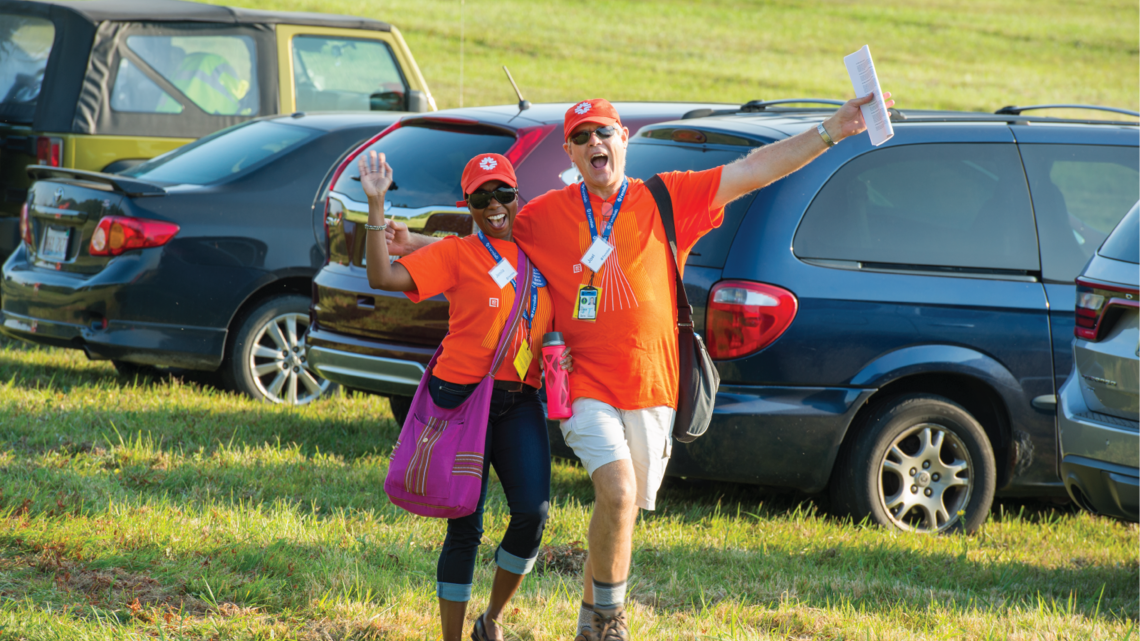 Fermilab employees Jemila Adetunji and Joel Kofron arrive on site excited to welcome thousands of visitors.