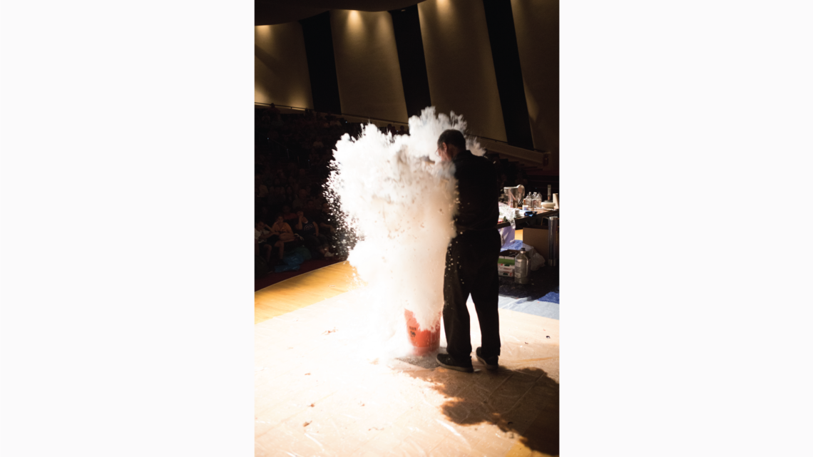 Mr. Freeze gave four cool performances throughout the day, to the delight of audiences in Ramsey Auditorium.