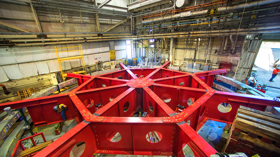 Photo of the Muon g-2 electromagnet in its old home at Brookhaven National Laboratory
