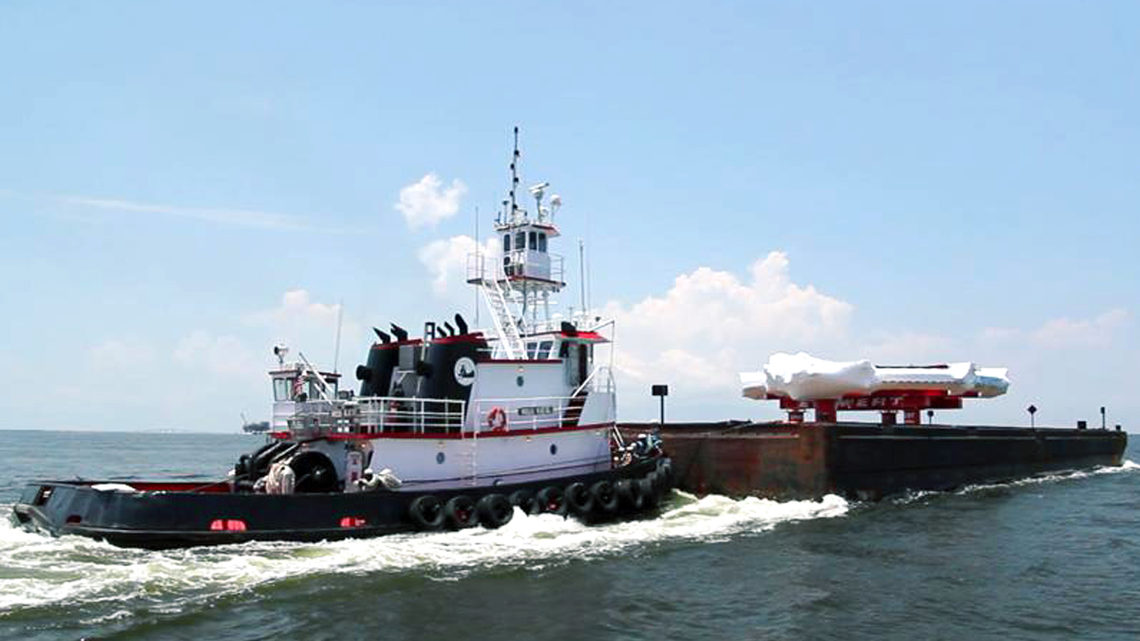 Photo of the tugboat Miss Katie pushed the Muon g-2 ring up the Tennessee-Tombigbee Waterway north of Mobile, Alabama