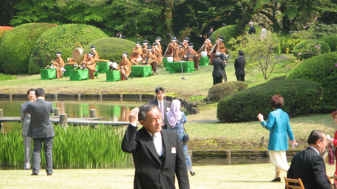 Event attendees in the Japanese garden