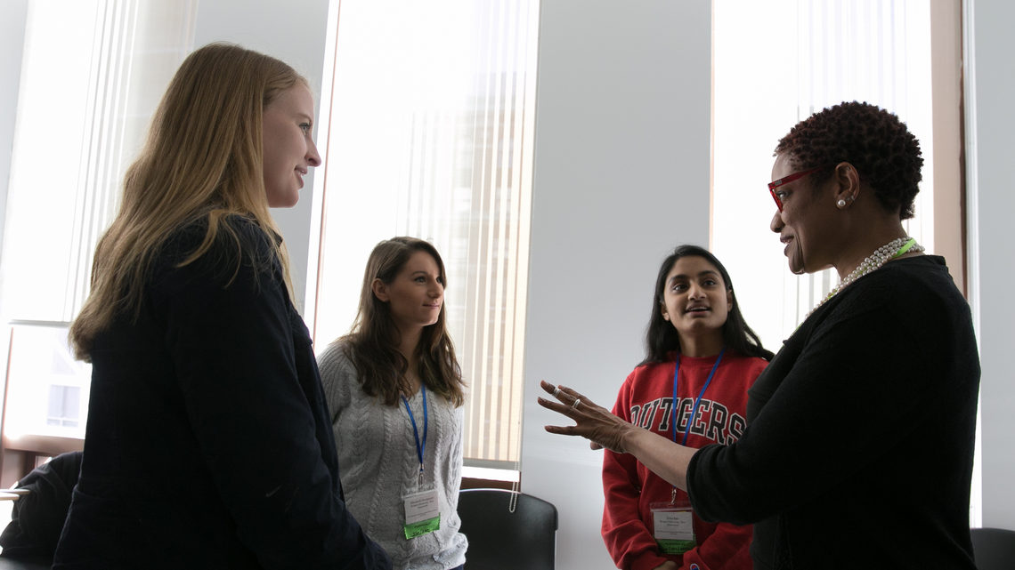 Photo of students attending the conference: the opportunity to meet and network with women with successful careers in physics.