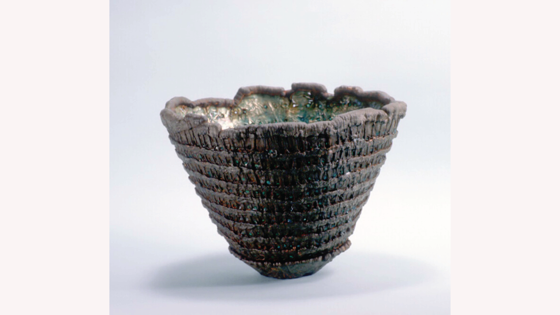 Bowl, 1980, electroplated copper foil and enamel, iron plated. (Photo by Gene Young)