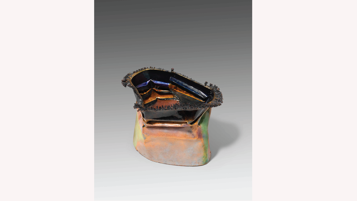 June Schwarcz, Vessel, electroplated copper foil and enamel, sandblasted. (Photo by Cate Hurst)