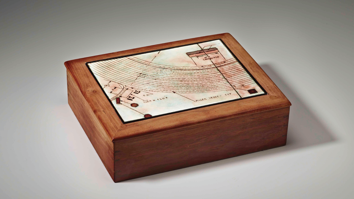June Schwarcz, SLAC Design Box, 1989, electroplated copper and enamel, mounted in a cherry box. (Photo by M. Lee Fatherree)