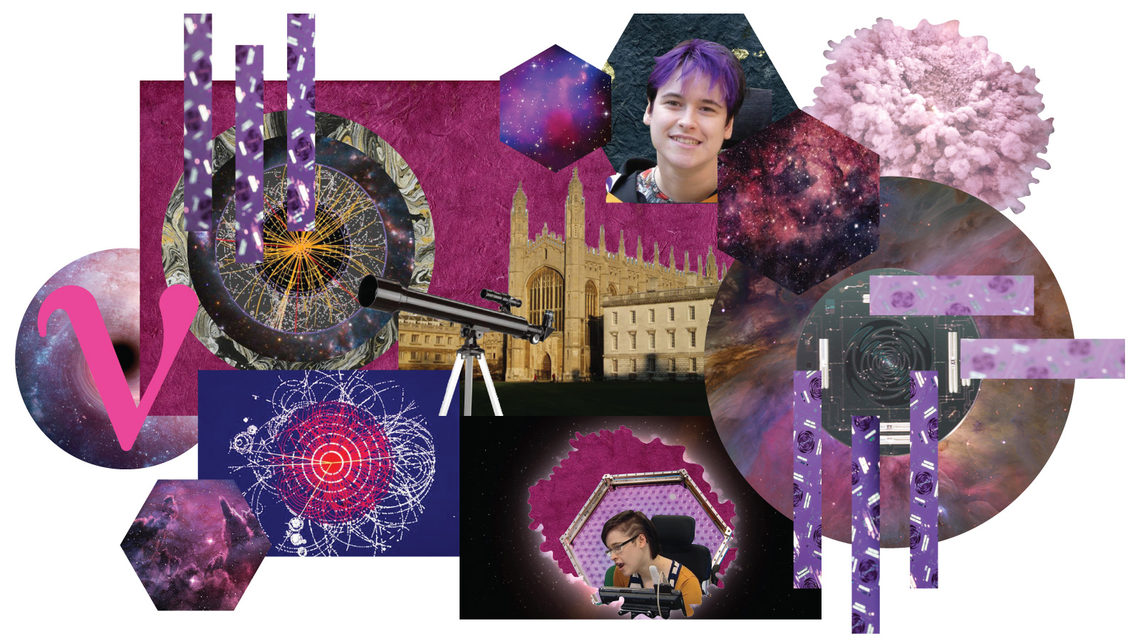 Collage of Claire Malone including: telescope, Cambridge university, neutrino symbol, dark matter, and Higgs boson images