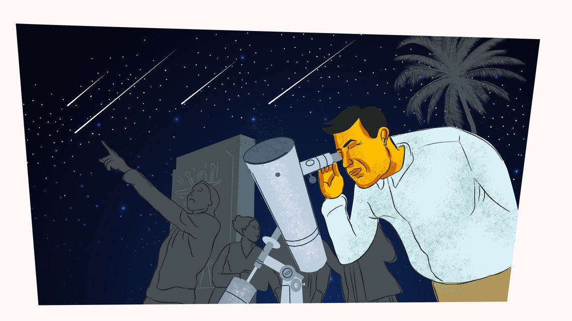 Illustration of Aranda stargazing