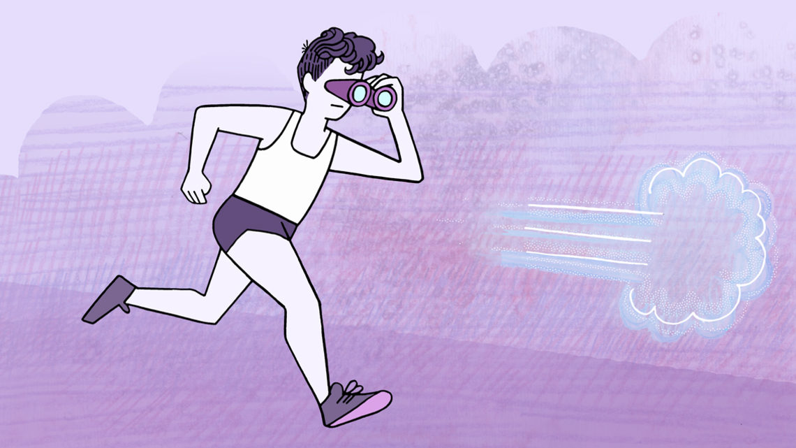 Illustration of scientist running with binoculars after hidden flavors of neutrinos (blue, white, medium and light purple)