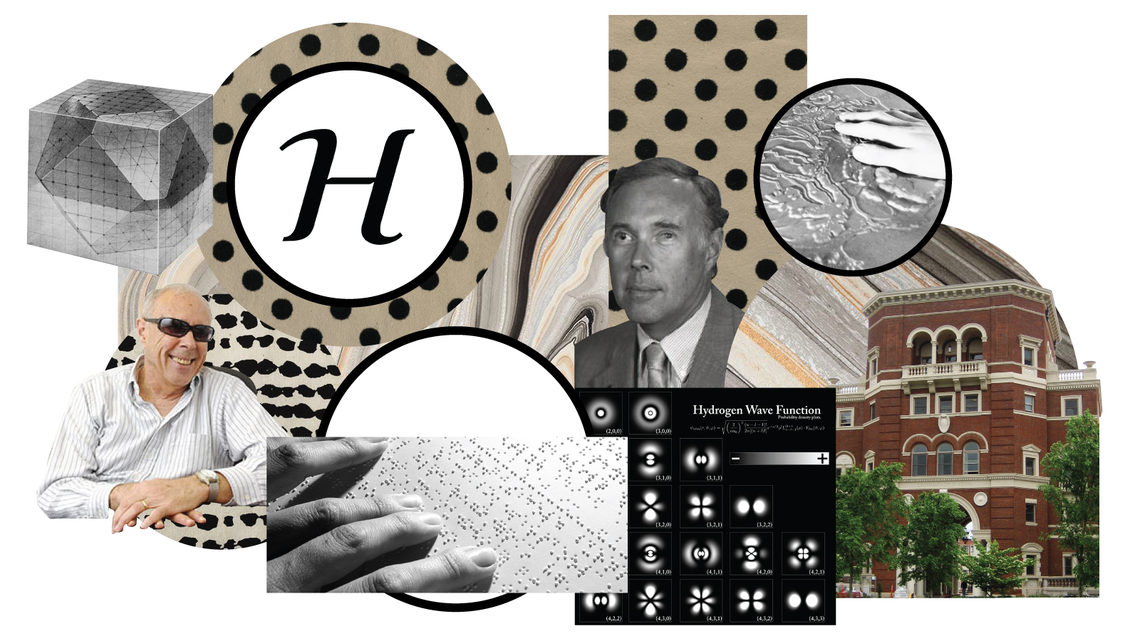 Collage of John Gardner including: braille, Oregon State University, and hydrogen wave function chart