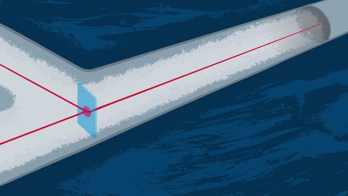 Illustration of a laser shooting a beam through a beam splitter