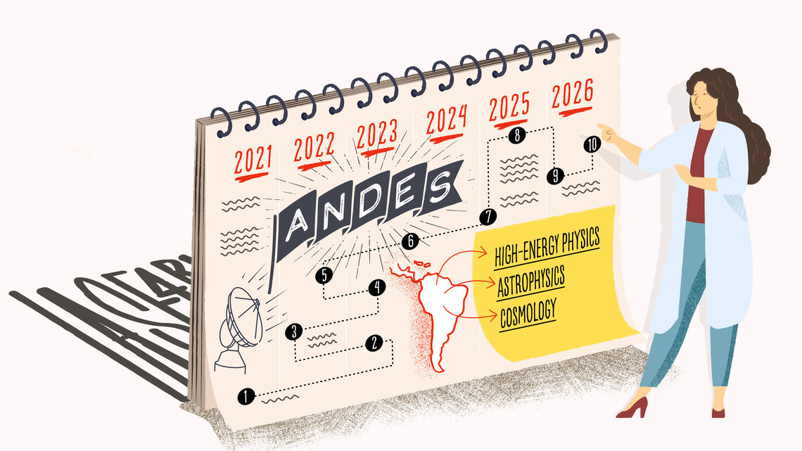 Illustration of a scientist by a calendar labeled with ANDES