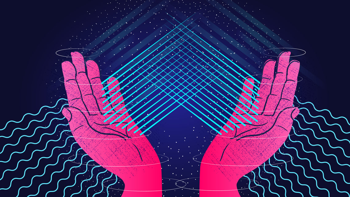 Illustration of hands with lines passing through them representing neutrinos