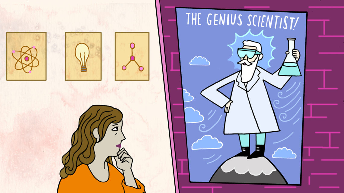 "Illustration of a woman contemplating a poster of a man labeled as ""the genius scientist"""