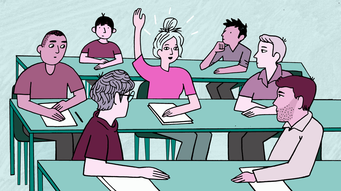 Illustration of a student raising her hand in class