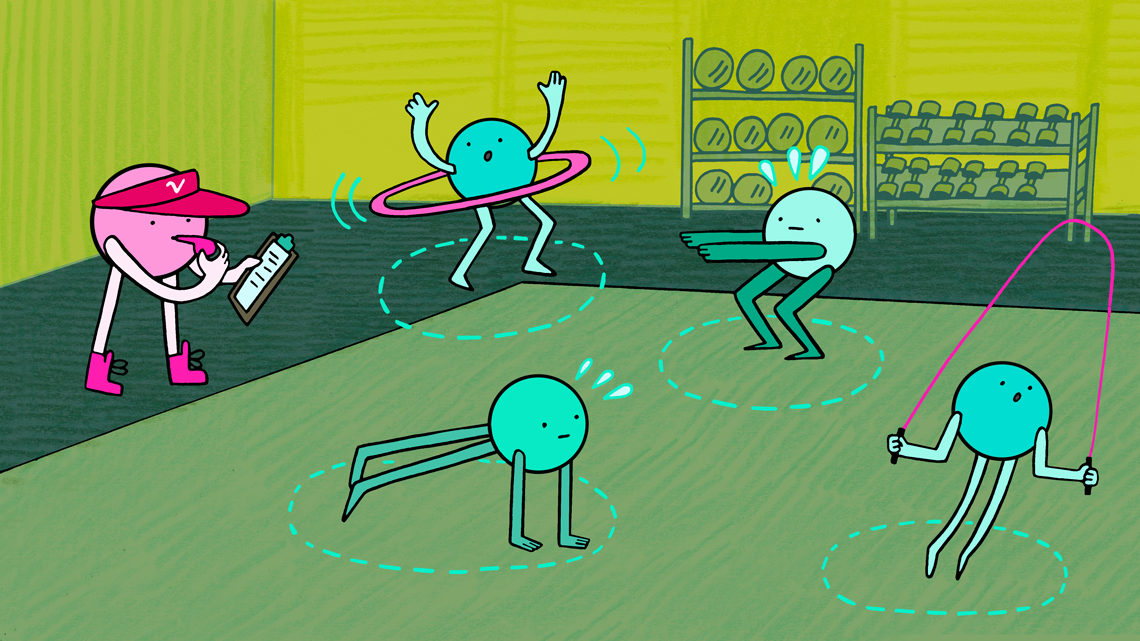 Illustration of neutrinos lifting weights in the gym, the Standard Model fitness test (pink, dark and light green, teal)