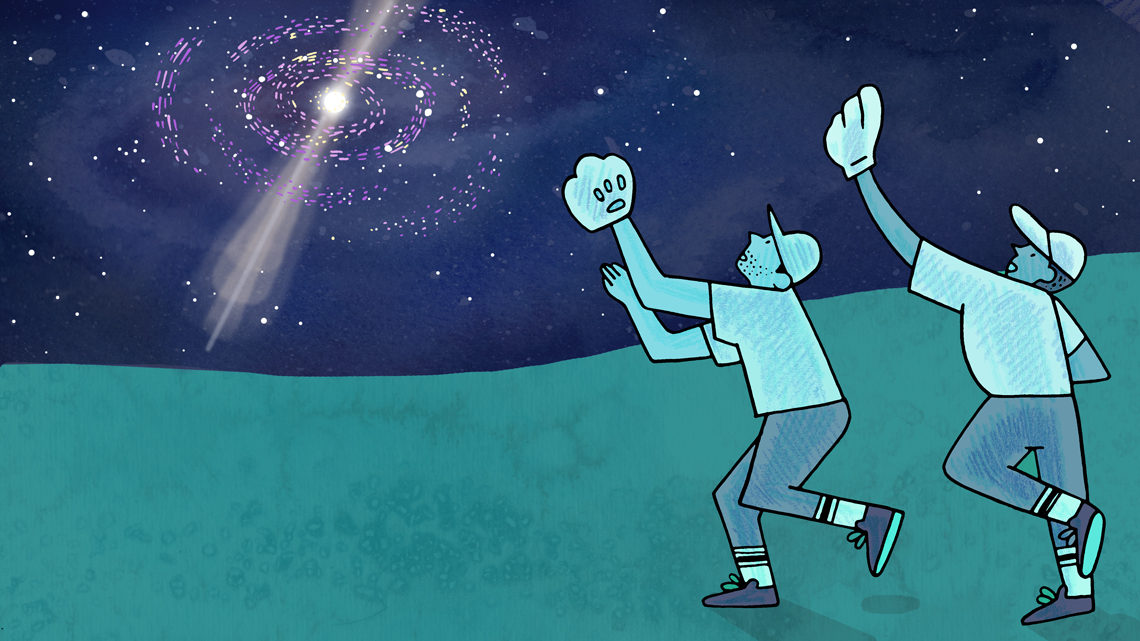 Illustration of people playing catch in a field with a supernova in the sky (teal, navy, purple)