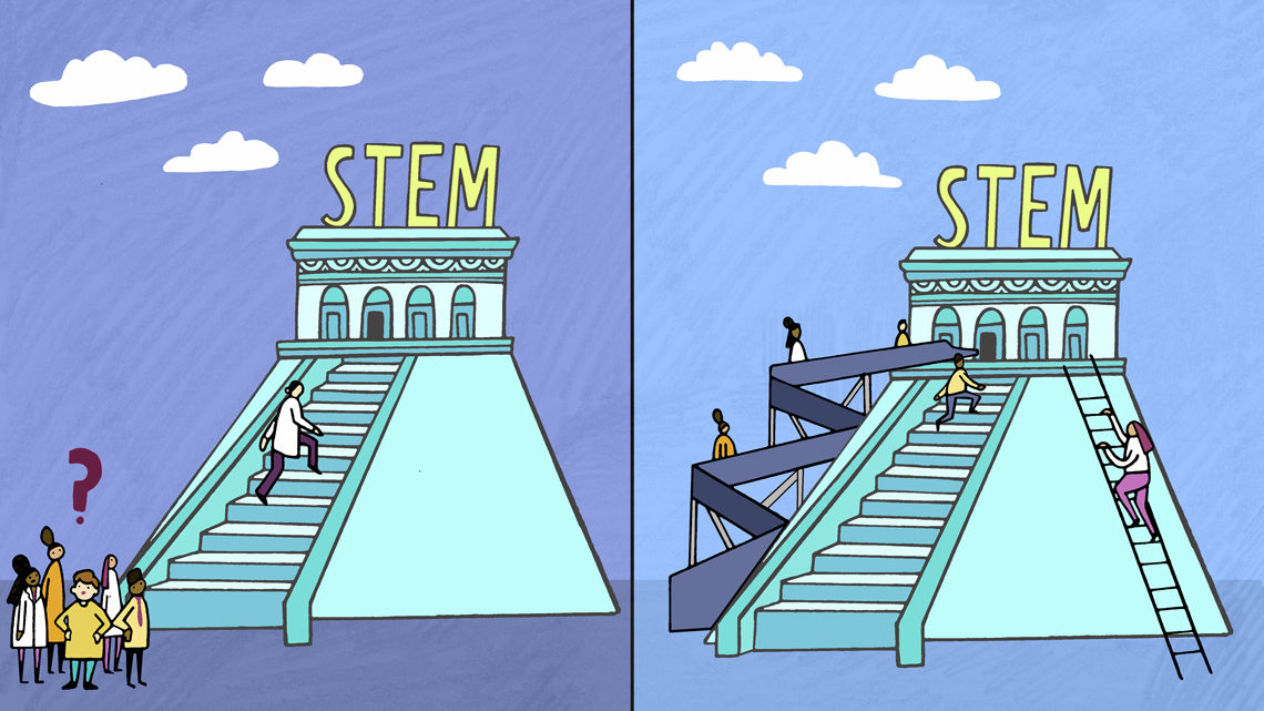 Illustration depicting new ways to approach STEM education