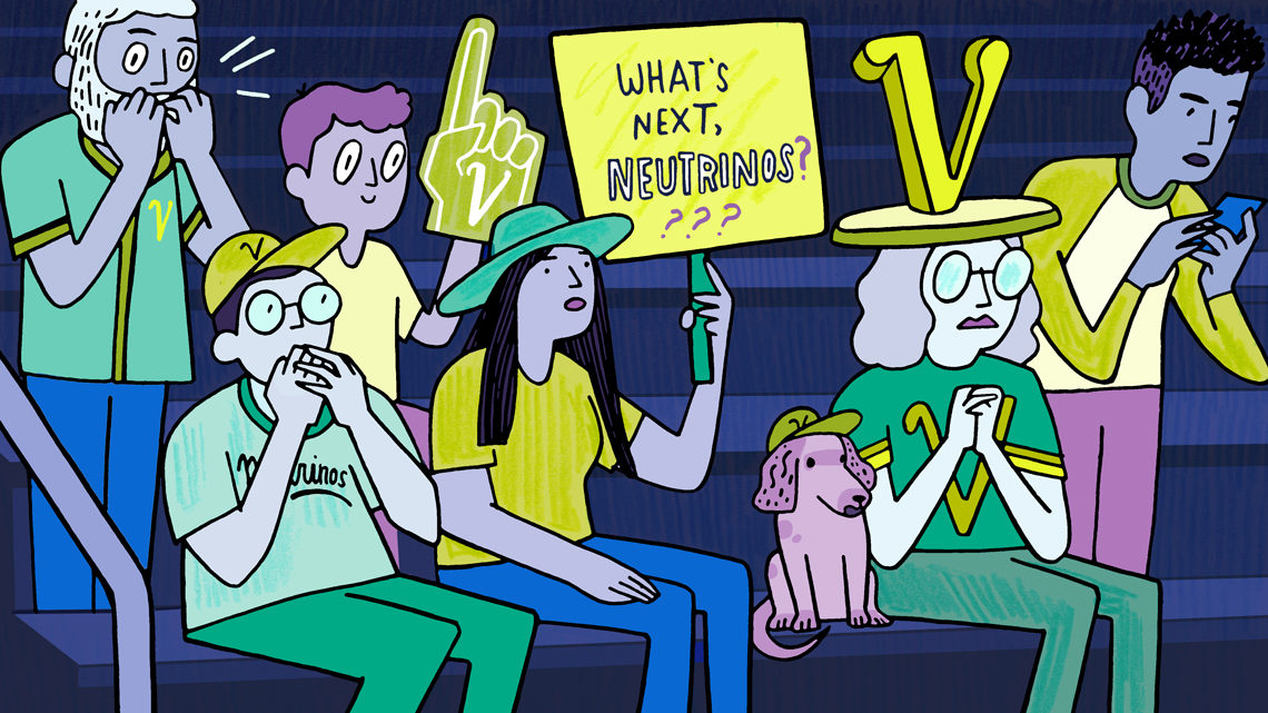 """Crowd of people in the stands of a game, one woman holding sign that says """"What's next, neutrinos?""""(blue, green, yellow, purple)"""