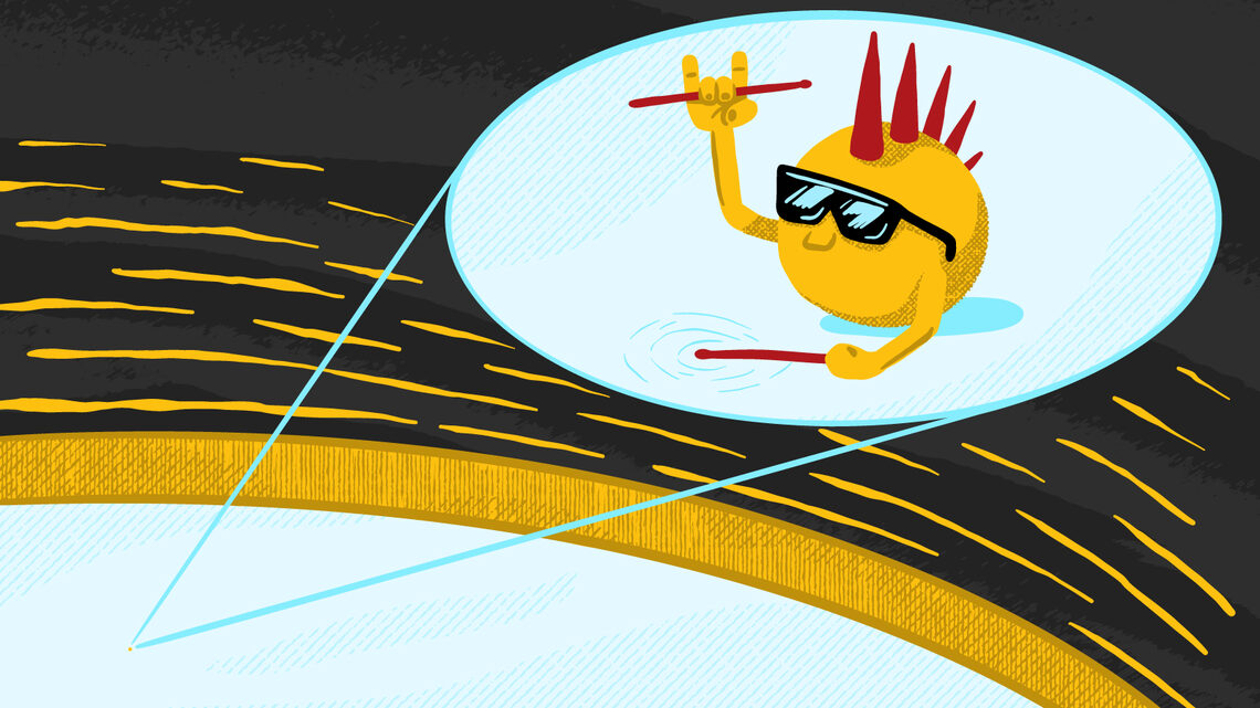 """Illustration of a particle with a mohawk, sunglasses and some drumsticks banging on the """"drum."""""""