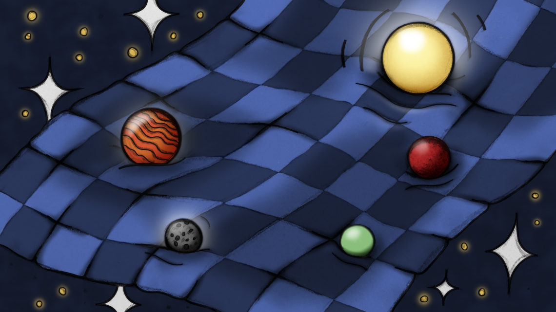 Checkered bed spread with stars around and planets on bed spread