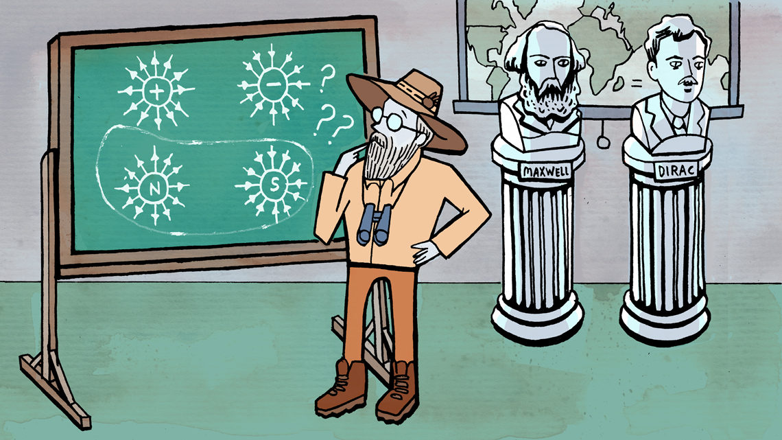 Scientist with binoculars looking at chalk board with the hunt for the truest north on it, bust of Maxwell and Dirac on right si