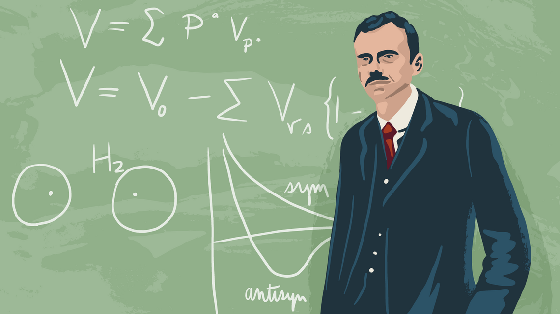 Illustration of Paul Dirac at a chalkboard