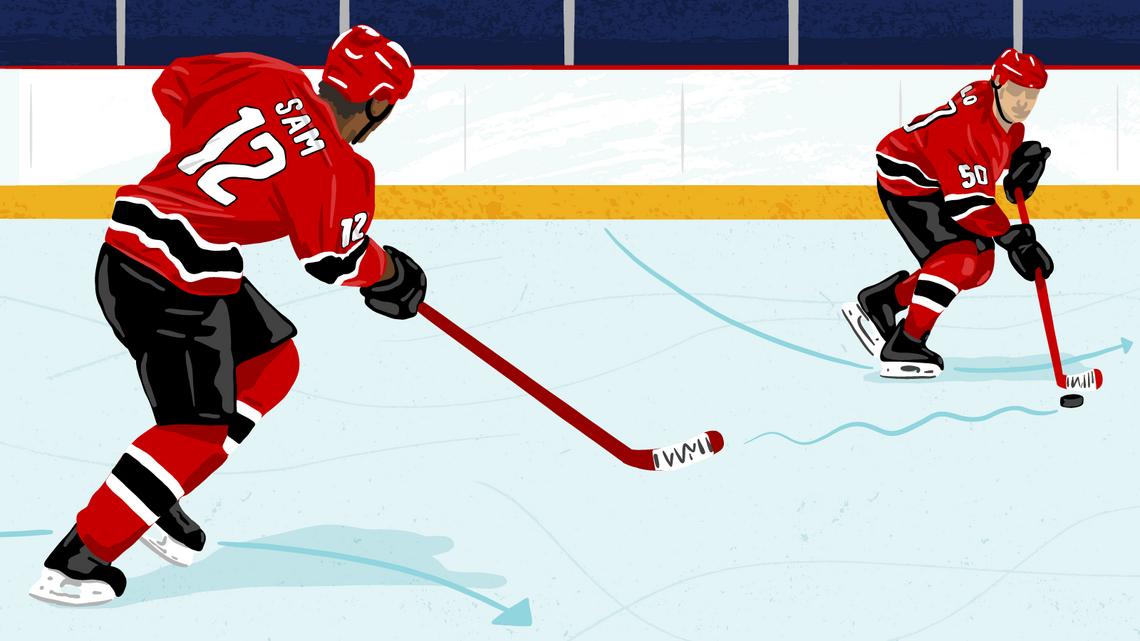 "Illustration: hockey player ""Sam"" passes the puck to hockey player ""Flo"""