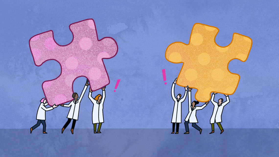 Illustration: Anomalies hand hold two conflicting puzzle piece shapes