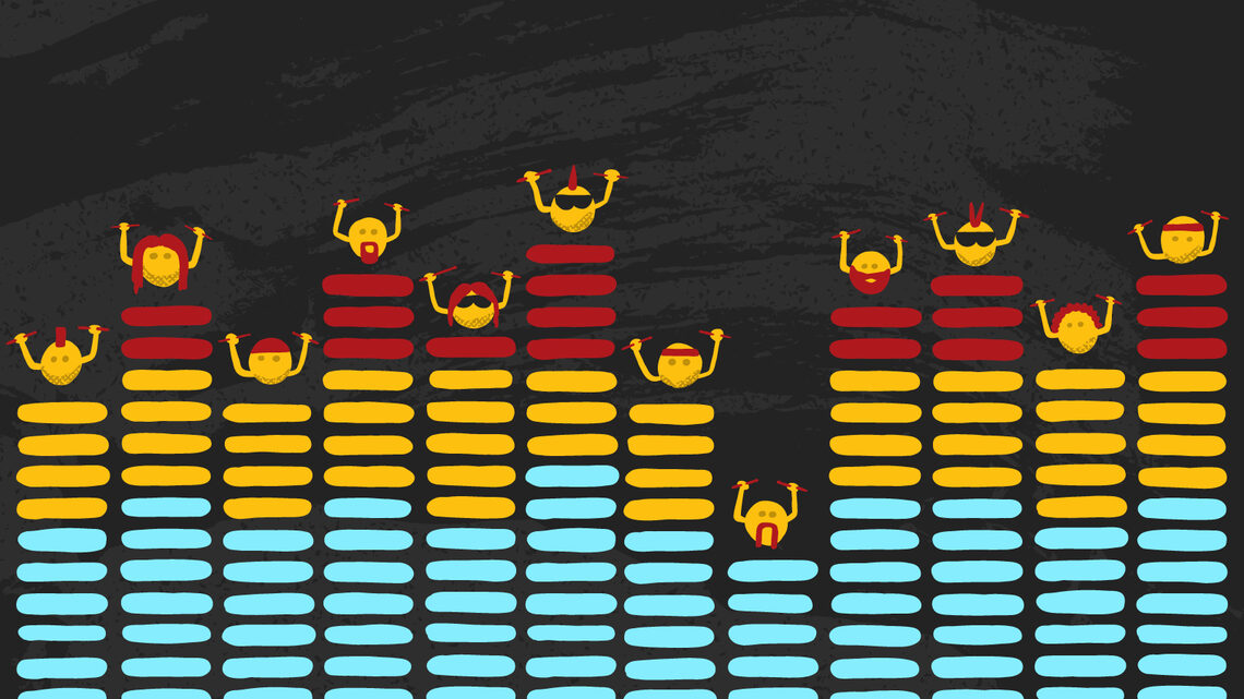 Illustration of An equalizer display with a bunch of drumming particles bouncing on the tops of each bar
