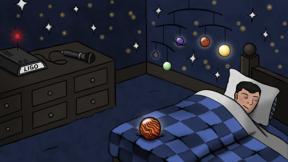Kid asleep in bed with solar system above bed, stars on wall, and LIGO machine on dresser with microphone
