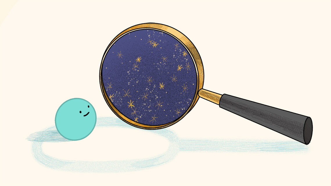 Illustration: Particle looking through magnifying glass of sky
