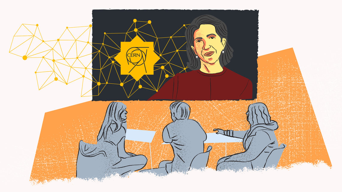 Illustration of Fabiola Gianotti with students