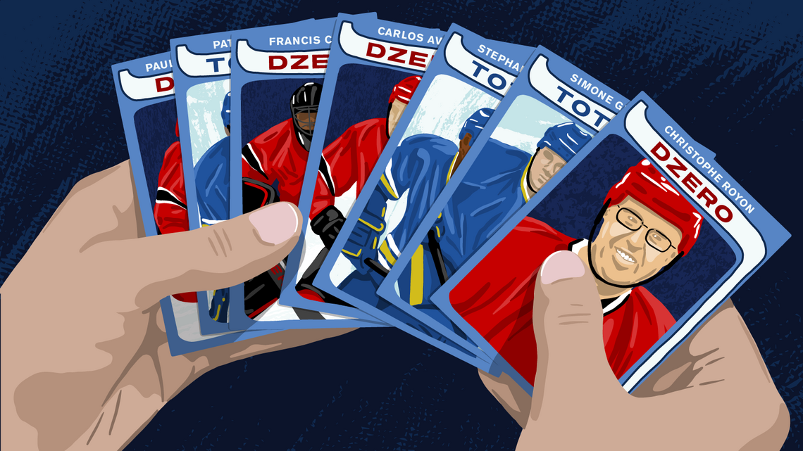 Illustration: hockey player cards featuring the names of experiments and scientists