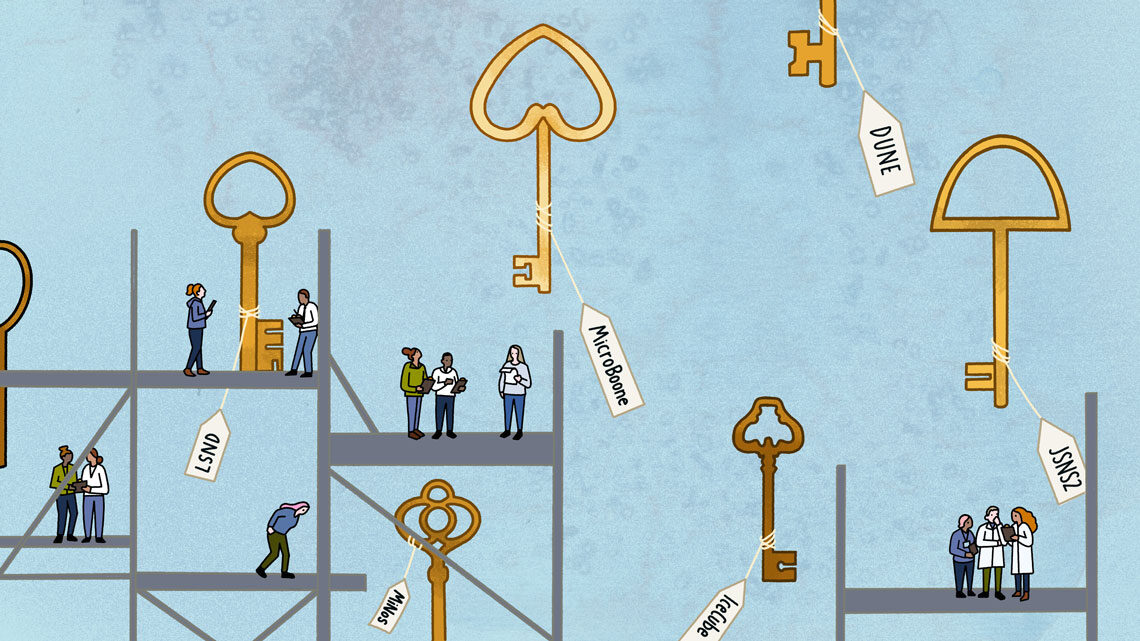 Illustration: Keys labeled with experiment names. Tiny scientists work on scaffolding.