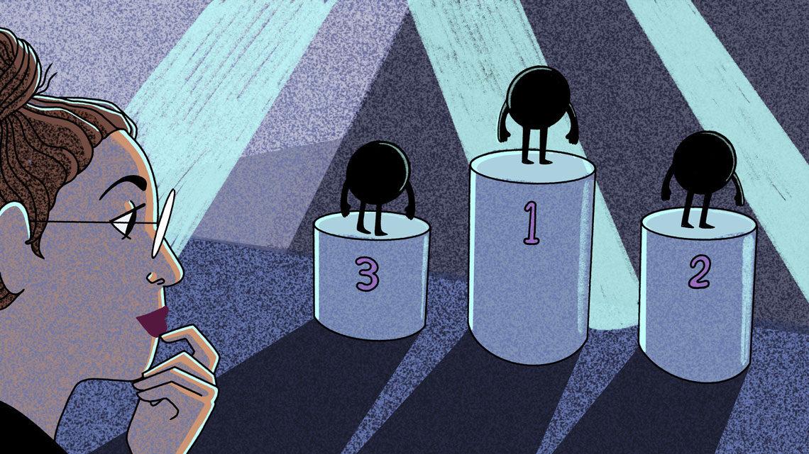 Illustration of three silhouettes of neutrinos on podiums