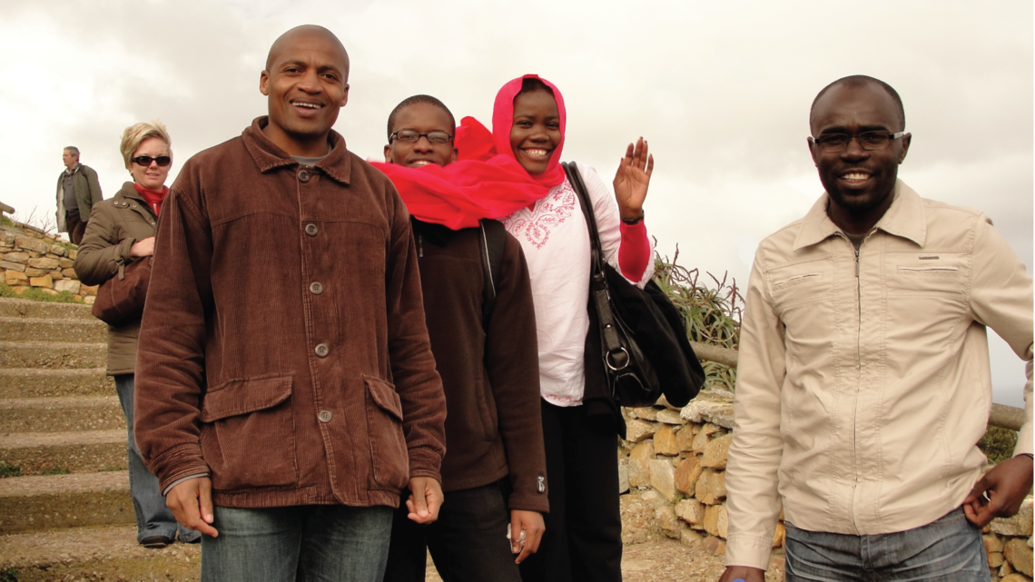 Image of four students from African school