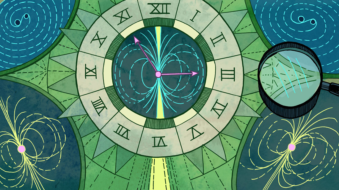 Roman numeral clock with gravitational waves game board with microscope