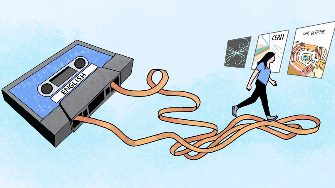 Illustration of a woman walking on an English cassette tape ribbon toward a career in science