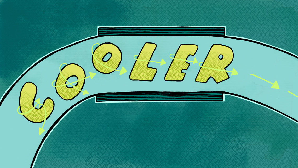 "Yellow and green graphic of the word ""cooler"" moving through tunnel"