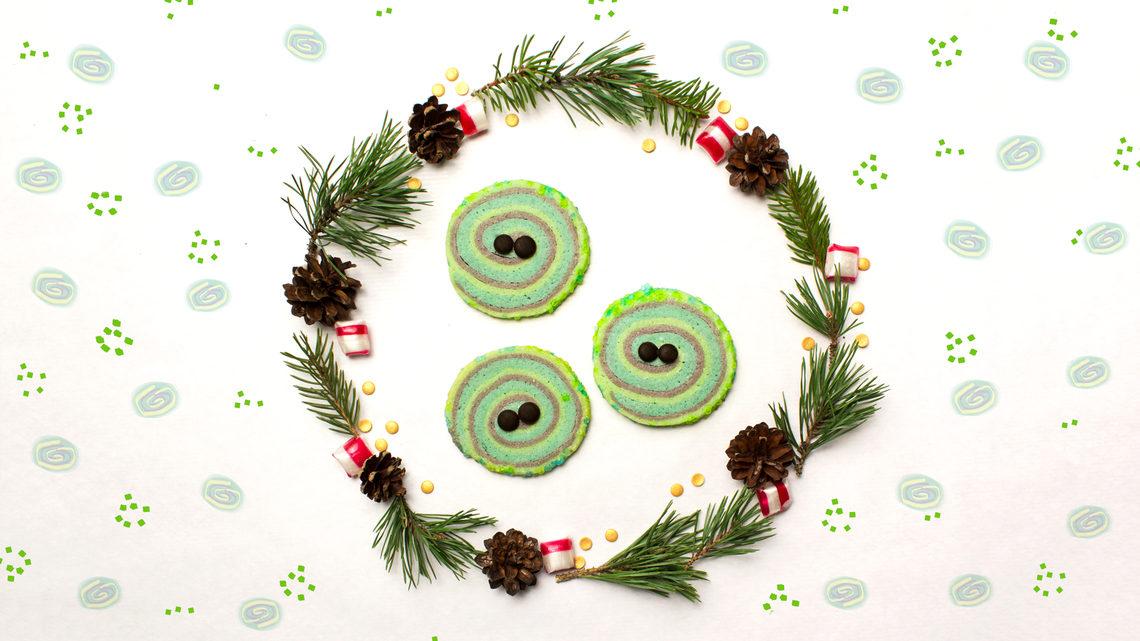 Gravitational waves cookies, inside wreath with polka dot background