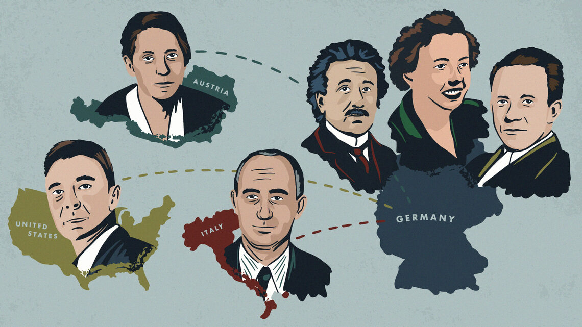 Illustration of prominent scientists that spent time in Germany leading up to WWII
