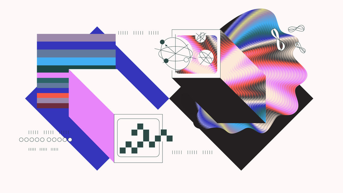 Illustration blue diamond shape with computer and colored strips in square, black diamond shape with computer and quantum waves
