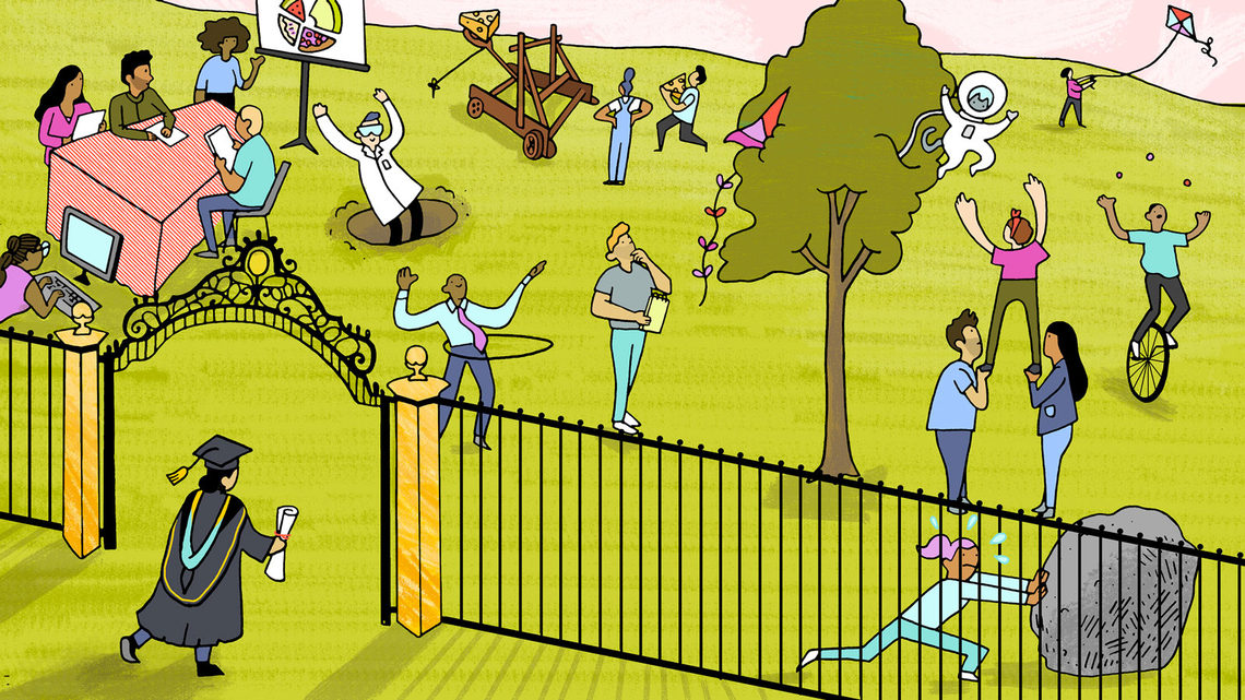 An illustration of a PhD recipient walking through a gate