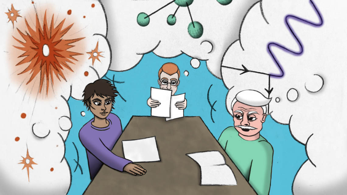 Three people sitting at table with clouds of science around them