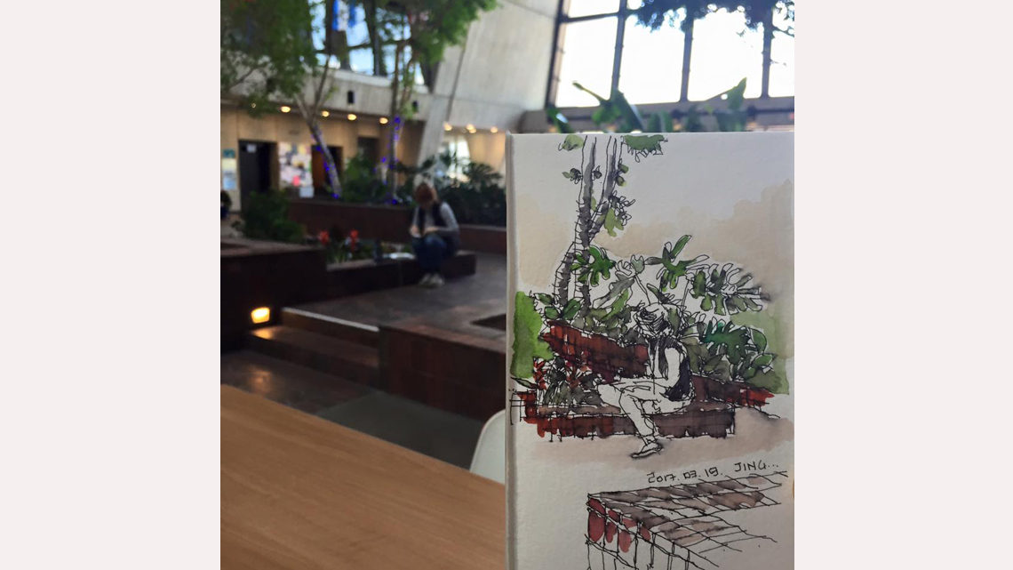 Painting of a person sketching trees in Wilson Hall atrium