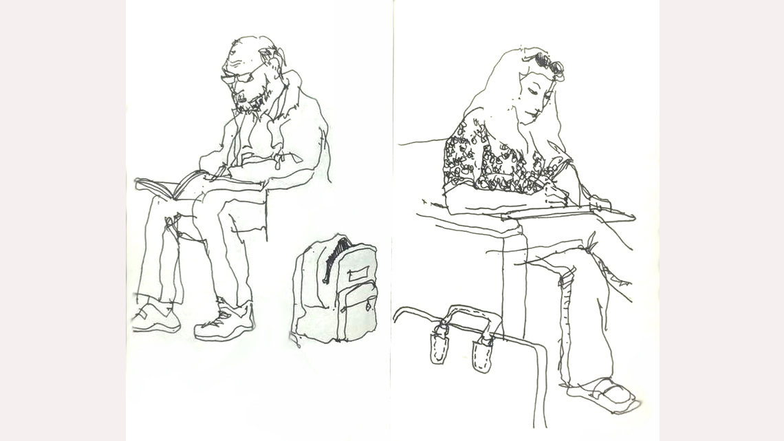 Ink drawings of two people sitting with sketch pads